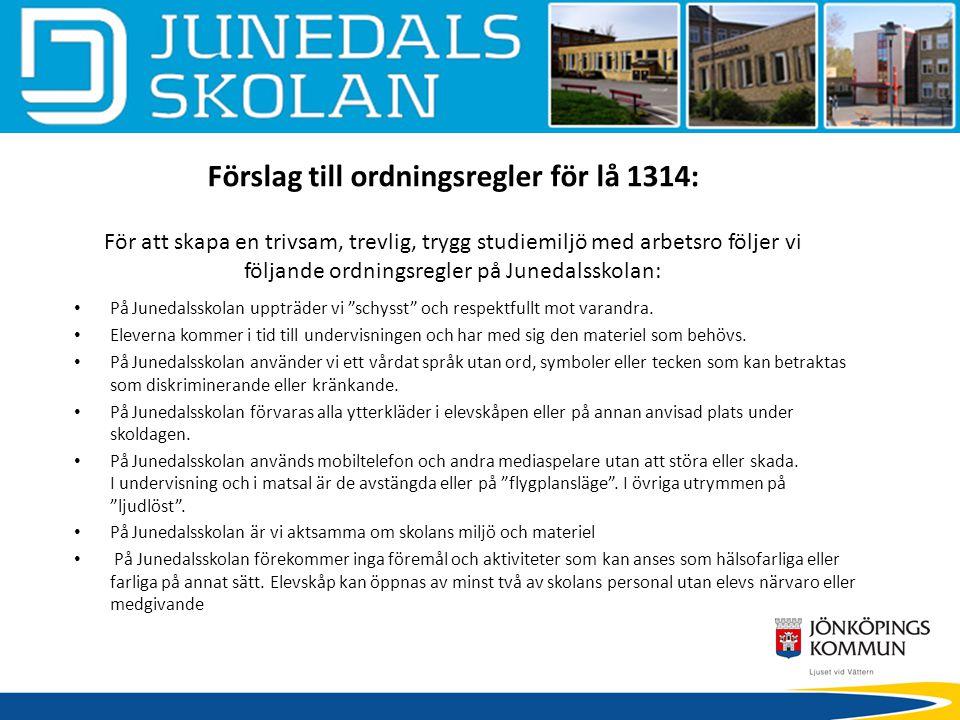 Förslag till ordningsregler för lå 1314: För att skapa en trivsam, trevlig, trygg studiemiljö med arbetsro följer vi följande ordningsregler på Juneda