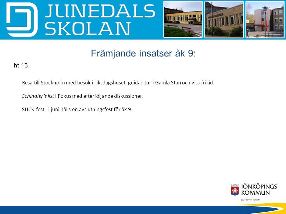 Främjande insatser åk 9: ht 13 Resa till Stockholm med besök i riksdagshuset, guidad tur i Gamla Stan och viss fri tid. Schindler's list i Fokus med e