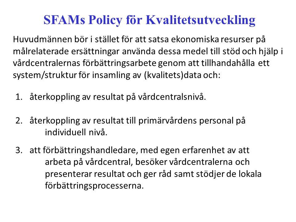 SFAMs Policy för Kvalitetsutveckling Huvudmännen bör i stället för att satsa ekonomiska resurser på målrelaterade ersättningar använda dessa medel till stöd och hjälp i vårdcentralernas förbättringsarbete genom att tillhandahålla ett system/struktur för insamling av (kvalitets)data och: 1.