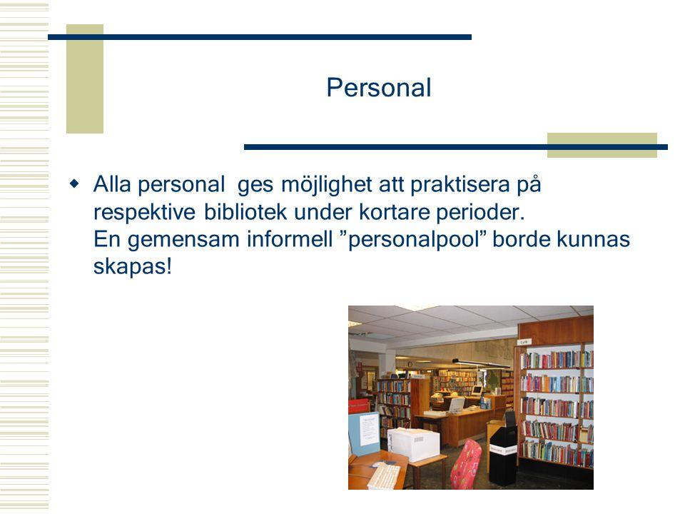 """Personal  Alla personal ges möjlighet att praktisera på respektive bibliotek under kortare perioder. En gemensam informell """"personalpool"""" borde kunna"""