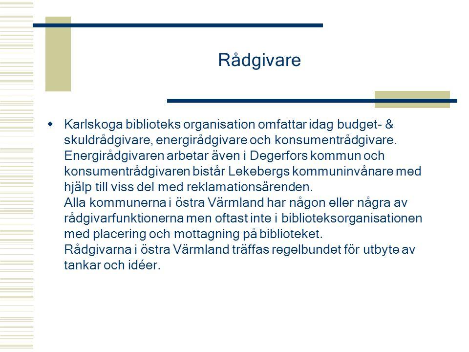 Rådgivare  Karlskoga biblioteks organisation omfattar idag budget- & skuldrådgivare, energirådgivare och konsumentrådgivare. Energirådgivaren arbetar