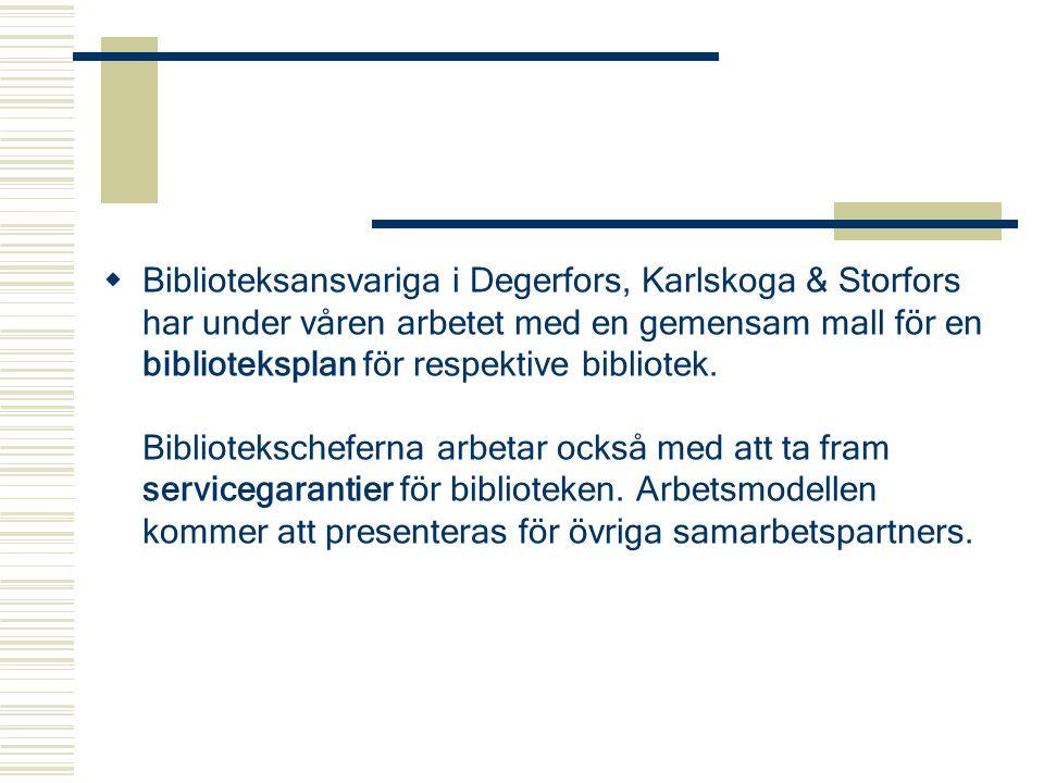  Biblioteksansvariga i Degerfors, Karlskoga & Storfors har under våren arbetet med en gemensam mall för en biblioteksplan för respektive bibliotek. B
