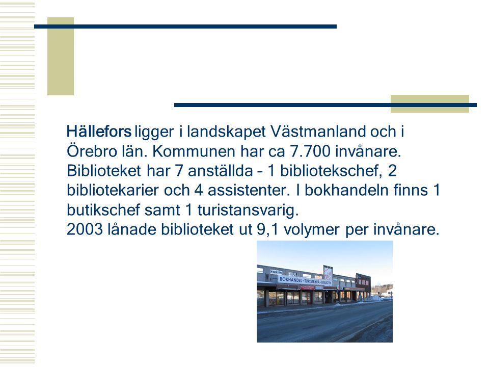 Hällefors ligger i landskapet Västmanland och i Örebro län. Kommunen har ca 7.700 invånare. Biblioteket har 7 anställda – 1 bibliotekschef, 2 bibliote