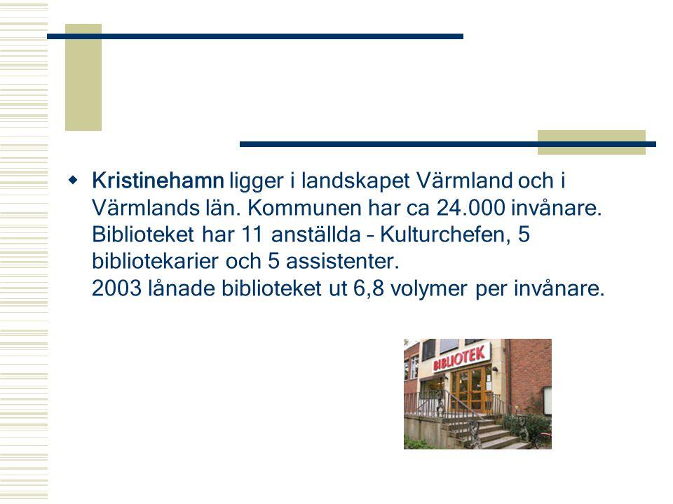  Kristinehamn ligger i landskapet Värmland och i Värmlands län. Kommunen har ca 24.000 invånare. Biblioteket har 11 anställda – Kulturchefen, 5 bibli
