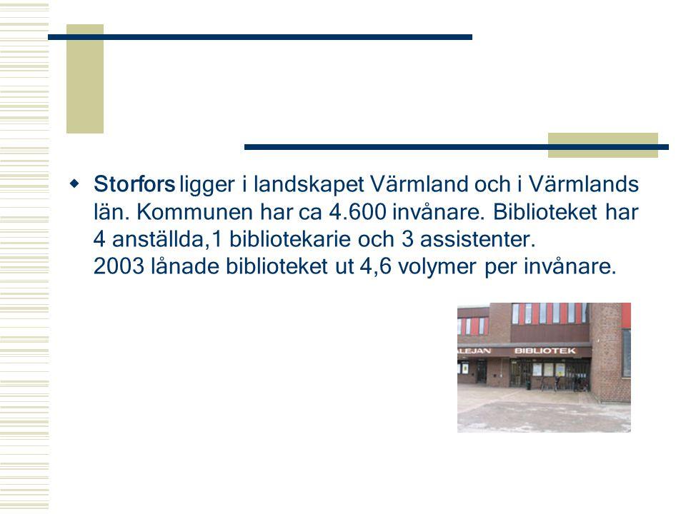  Storfors ligger i landskapet Värmland och i Värmlands län. Kommunen har ca 4.600 invånare. Biblioteket har 4 anställda,1 bibliotekarie och 3 assiste