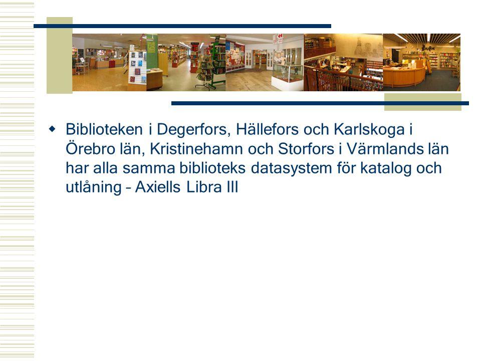 Katalog och lånekort  Biblioteken i Degerfors, Karlskoga och Storfors har en gemensam låntagar- och mediakatalog, gemensamt lånekort och ett fritt flöde av media mellan biblioteken.