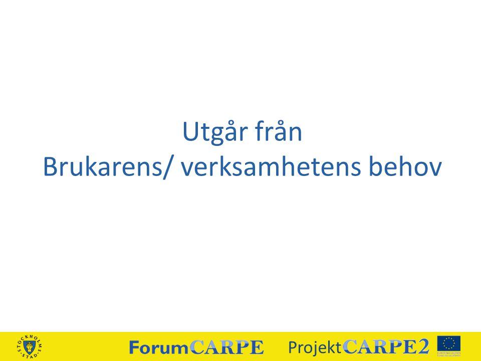 Utgår från Brukarens/ verksamhetens behov Projekt