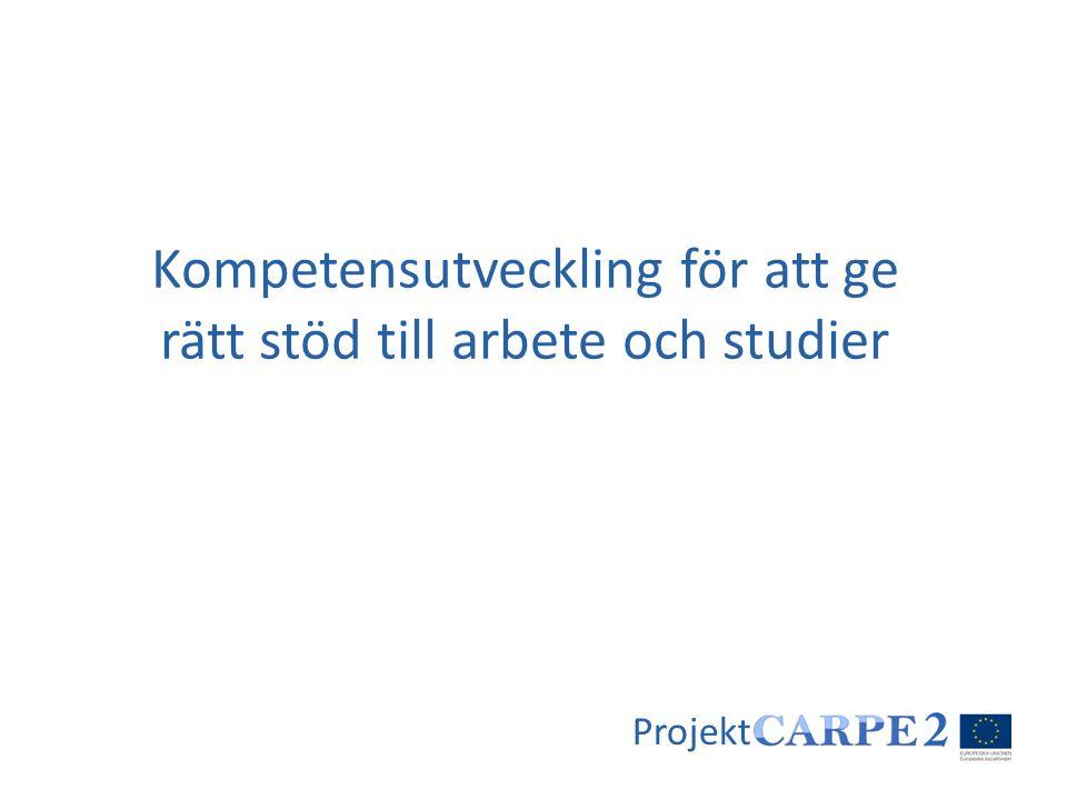 Kompetensutveckling för att ge rätt stöd till arbete och studier Projekt