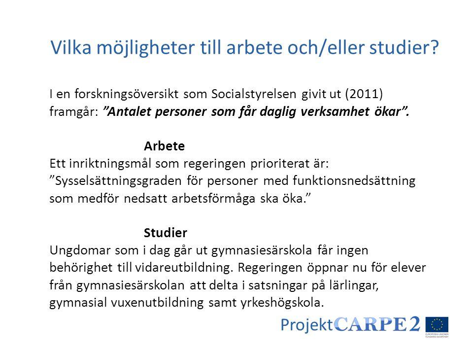 Projekt Syfte: Utveckla den nya yrkesroll som krävs för att i såväl daglig verksamhet som i boende ge rätt stöd till arbete och/eller studier.