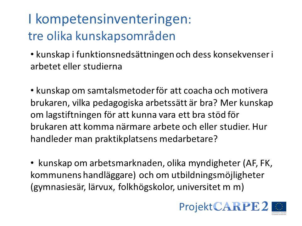 Projekt • kunskap i funktionsnedsättningen och dess konsekvenser i arbetet eller studierna • kunskap om samtalsmetoder för att coacha och motivera bru
