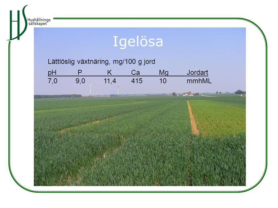 Igelösa Lättlöslig växtnäring, mg/100 g jord pH P KCaMgJordart 7,09,011,441510mmhML