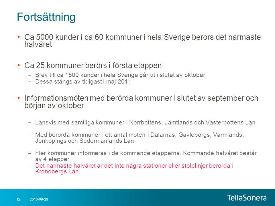2010-09-2912 Fortsättning • Ca 5000 kunder i ca 60 kommuner i hela Sverige berörs det närmaste halvåret • Ca 25 kommuner berörs i första etappen –Brev