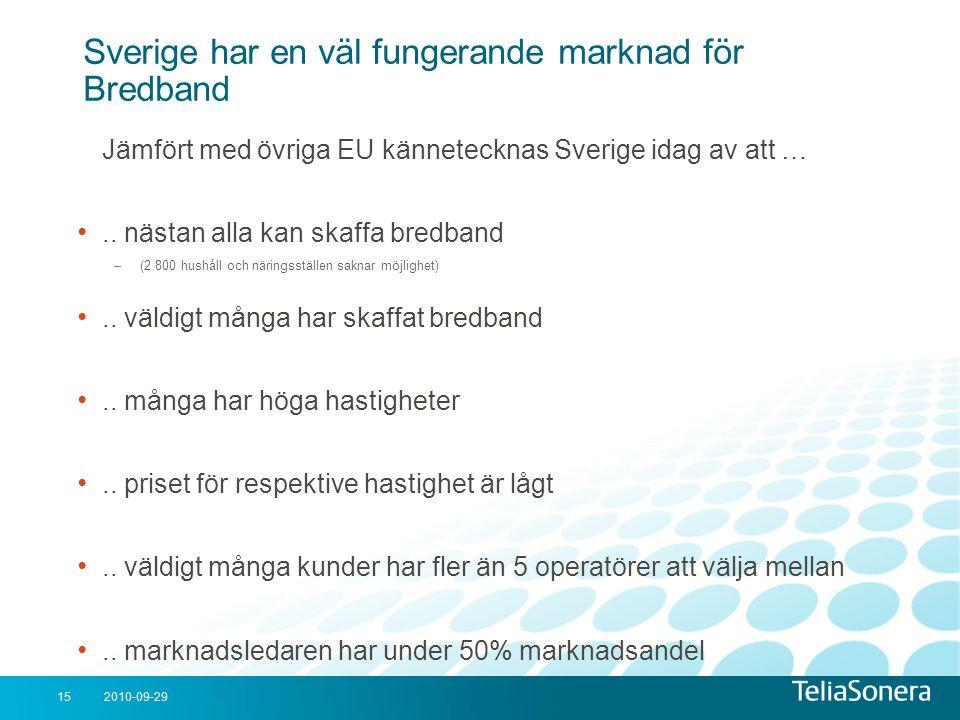 2010-09-2915 Sverige har en väl fungerande marknad för Bredband Jämfört med övriga EU kännetecknas Sverige idag av att … •.. nästan alla kan skaffa br