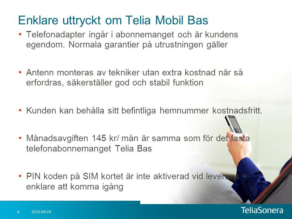 2010-09-298 Enklare uttryckt om Telia Mobil Bas • Telefonadapter ingår i abonnemanget och är kundens egendom. Normala garantier på utrustningen gäller