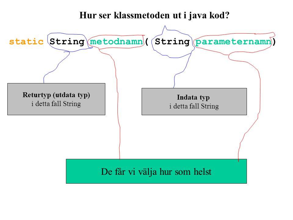 Hur ser klassmetoden ut i java kod? static String metodnamn( String parameternamn) Returtyp (utdata typ) i detta fall String Indata typ i detta fall S