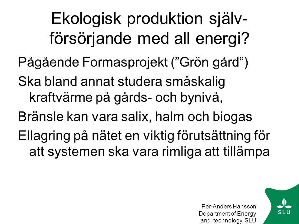Per-Anders Hansson Department of Energy and technology, SLU Ekologisk produktion själv- försörjande med all energi.