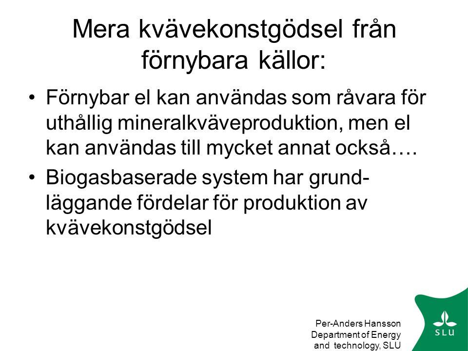 Per-Anders Hansson Department of Energy and technology, SLU Mera kvävekonstgödsel från förnybara källor: •Förnybar el kan användas som råvara för uthållig mineralkväveproduktion, men el kan användas till mycket annat också….