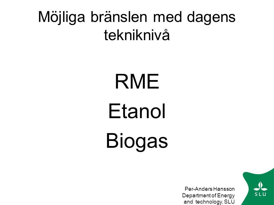 Per-Anders Hansson Department of Energy and technology, SLU Möjliga bränslen med dagens tekniknivå RME Etanol Biogas