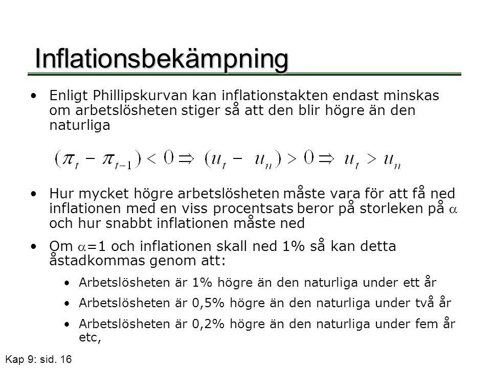 Kap 9: sid. 16 Inflationsbekämpning •Enligt Phillipskurvan kan inflationstakten endast minskas om arbetslösheten stiger så att den blir högre än den n