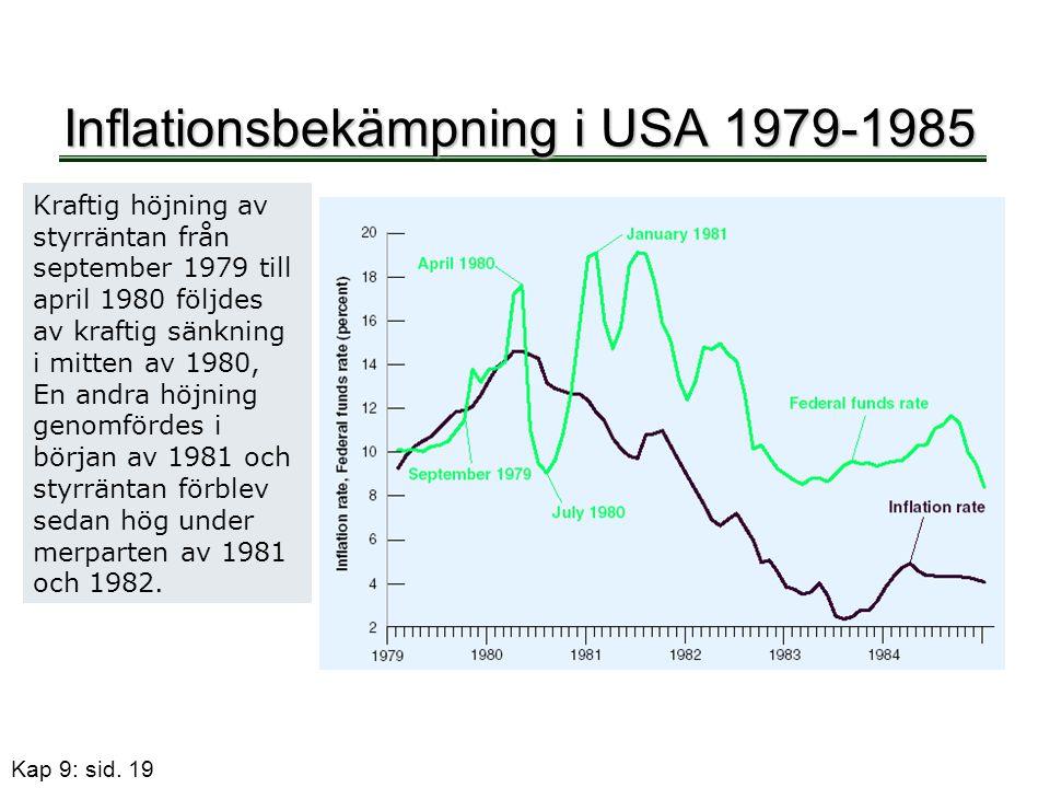 Kap 9: sid. 19 Inflationsbekämpning i USA 1979-1985 Kraftig höjning av styrräntan från september 1979 till april 1980 följdes av kraftig sänkning i mi