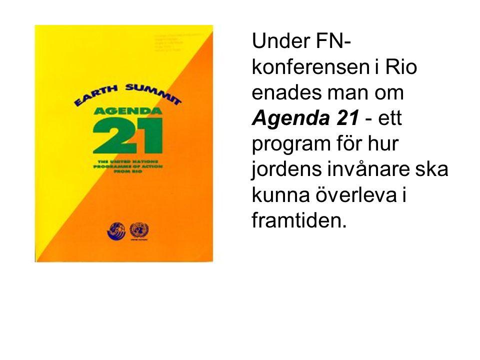 •Under FN- konferensen i Rio enades man om Agenda 21 - ett program för hur jordens invånare ska kunna överleva i framtiden.