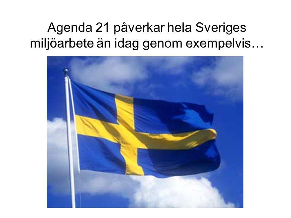 Agenda 21 påverkar hela Sveriges miljöarbete än idag genom exempelvis…