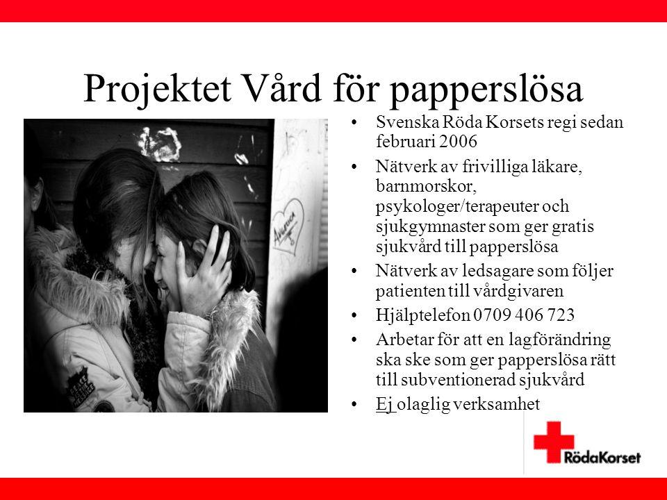 Projektet Vård för papperslösa •Svenska Röda Korsets regi sedan februari 2006 •Nätverk av frivilliga läkare, barnmorskor, psykologer/terapeuter och sj