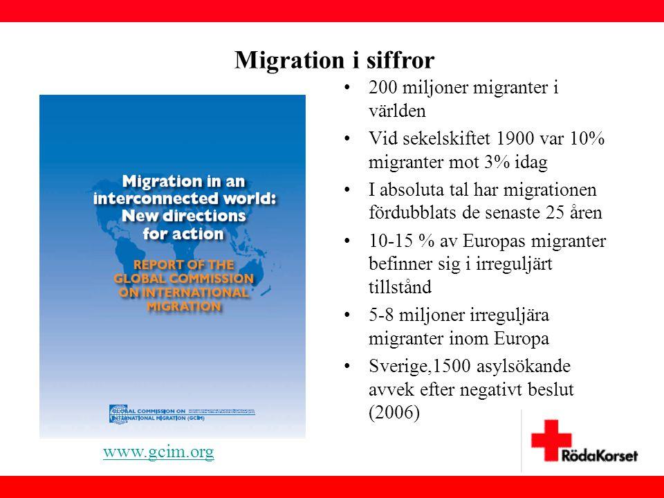 •200 miljoner migranter i världen •Vid sekelskiftet 1900 var 10% migranter mot 3% idag •I absoluta tal har migrationen fördubblats de senaste 25 åren