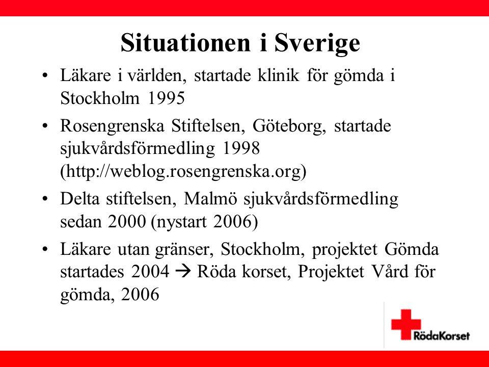 Situationen i Sverige •Läkare i världen, startade klinik för gömda i Stockholm 1995 •Rosengrenska Stiftelsen, Göteborg, startade sjukvårdsförmedling 1