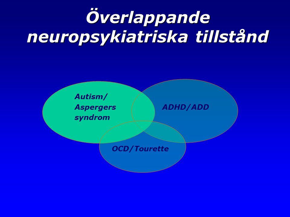 Överlappande neuropsykiatriska tillstånd Autism/ Aspergers ADHD/ADD syndrom OCD/Tourette