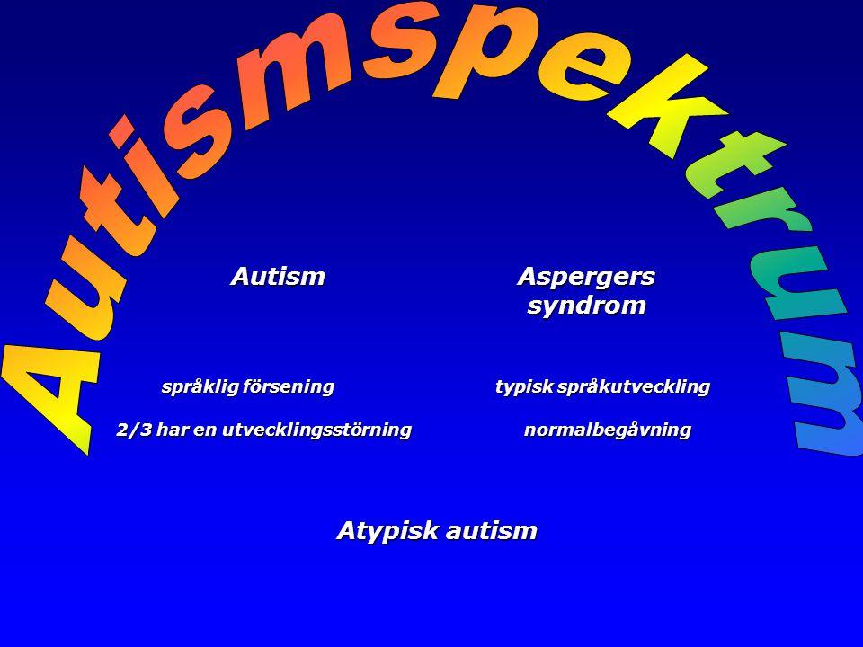 Autism Aspergers Autism Aspergers syndrom syndrom språklig försening typisk språkutveckling språklig försening typisk språkutveckling 2/3 har en utvec