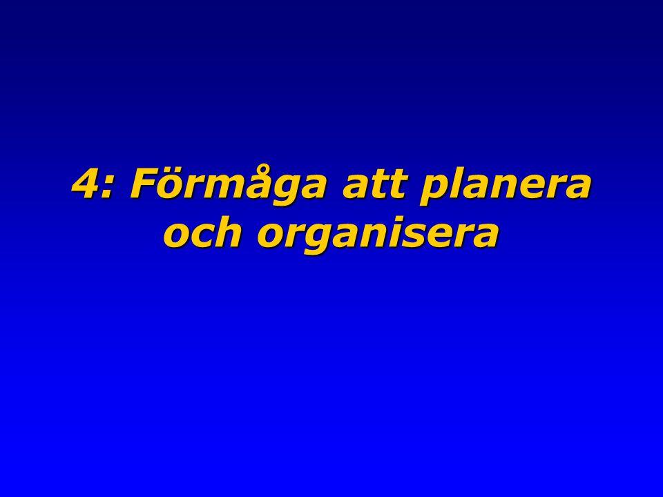 4: Förmåga att planera och organisera