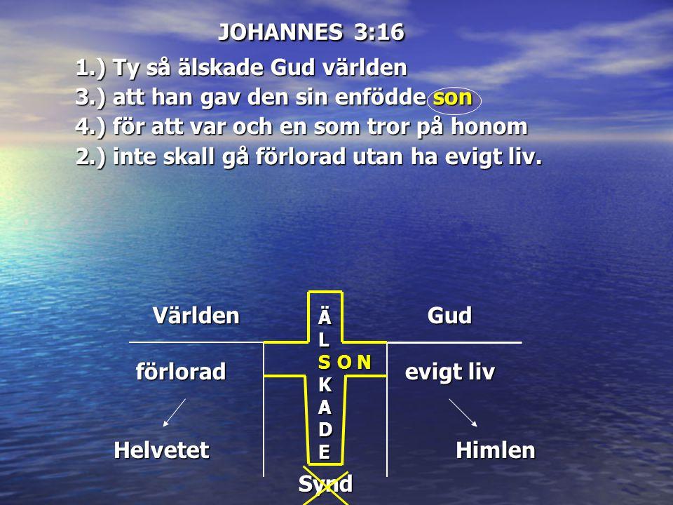 JOHANNES 3:16 Världen ÄL ÄÄLLSKSKADEADEÄÄLLSKSKADEADE Gud förlorad Helvetet evigt liv Himlen O N Synd 1.) Ty så älskade Gud världen 3.) att han gav de