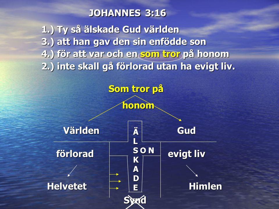 JOHANNES 3:16 Som tror på Som tror på honom honomVärlden ÄL ÄÄLLSKSKADEADEÄÄLLSKSKADEADE Gud förlorad Helvetet evigt liv Himlen O N Synd 1.) Ty så äls