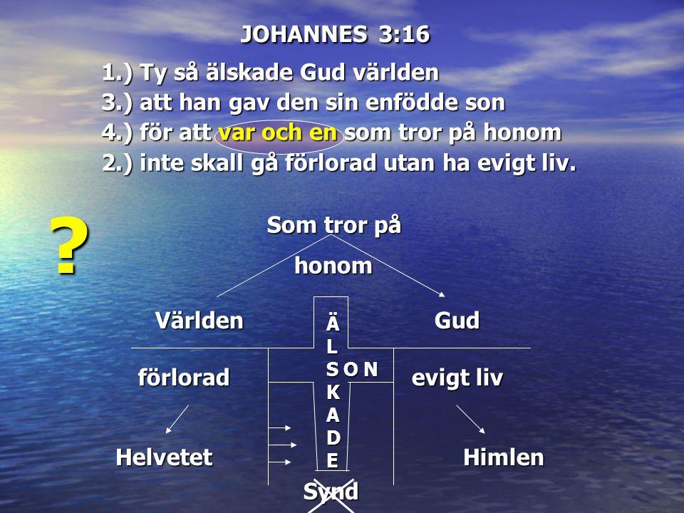 JOHANNES 3:16 Världen ÄL ÄÄLLSKSKADEADEÄÄLLSKSKADEADE Gud förlorad Helvetet evigt liv Himlen O N Synd Som tror på Som tror på honom honom ? 1.) Ty så
