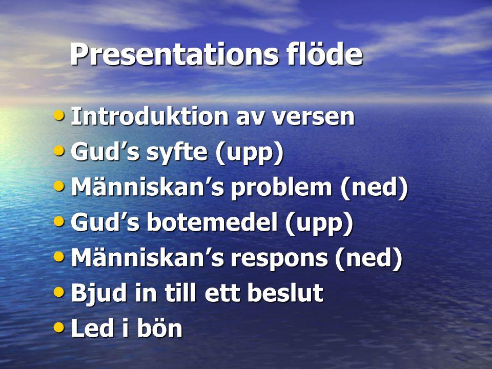 Presentations flöde • Introduktion av versen • Gud's syfte (upp) • Människan's problem (ned) • Gud's botemedel (upp) • Människan's respons (ned) • Bju