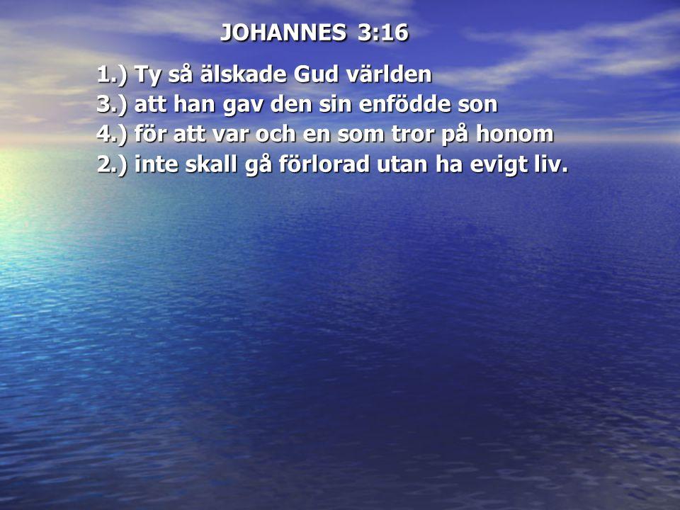 JOHANNES 3:16 1.) Ty så älskade Gud världen 3.) att han gav den sin enfödde son 4.) för att var och en som tror på honom 2.) inte skall gå förlorad ut