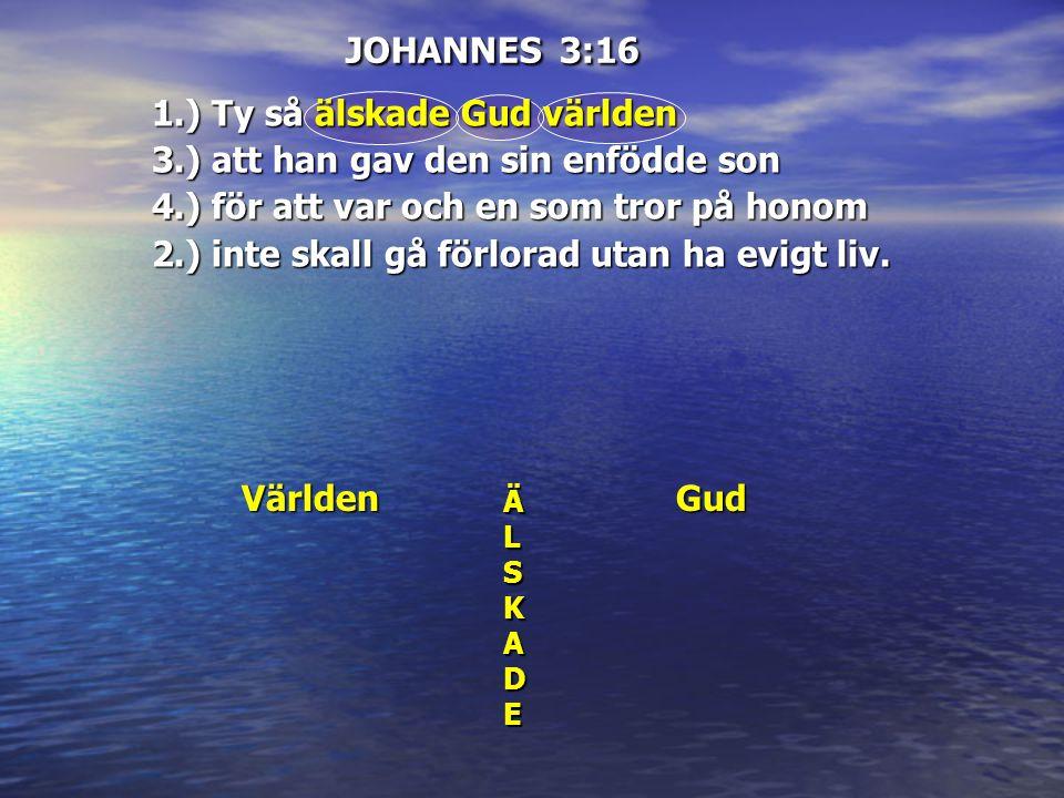 JOHANNES 3:16 Världen ÄL ÄÄLLSKSKADEADEÄÄLLSKSKADEADE Gud 1.) Ty så älskade Gud världen 3.) att han gav den sin enfödde son 4.) för att var och en som