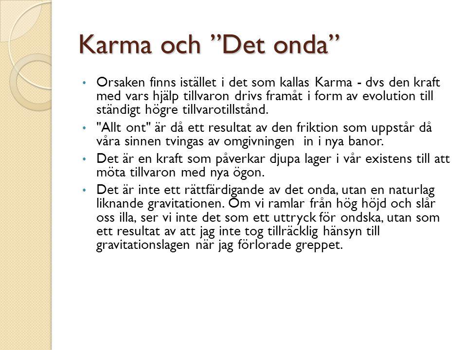 """Karma och """"Det onda"""" • Orsaken finns istället i det som kallas Karma - dvs den kraft med vars hjälp tillvaron drivs framåt i form av evolution till st"""