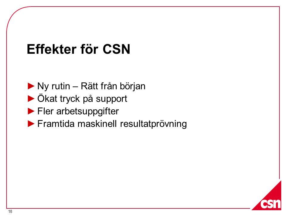 18 Effekter för CSN ►Ny rutin – Rätt från början ►Ökat tryck på support ►Fler arbetsuppgifter ►Framtida maskinell resultatprövning