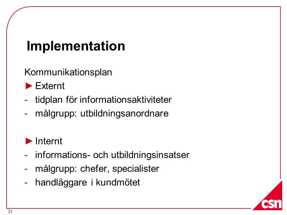 23 Implementation Kommunikationsplan ►Externt -tidplan för informationsaktiviteter -målgrupp: utbildningsanordnare ►Internt -informations- och utbildningsinsatser -målgrupp: chefer, specialister -handläggare i kundmötet