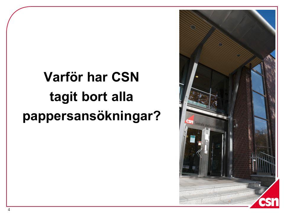 4 Varför har CSN tagit bort alla pappersansökningar