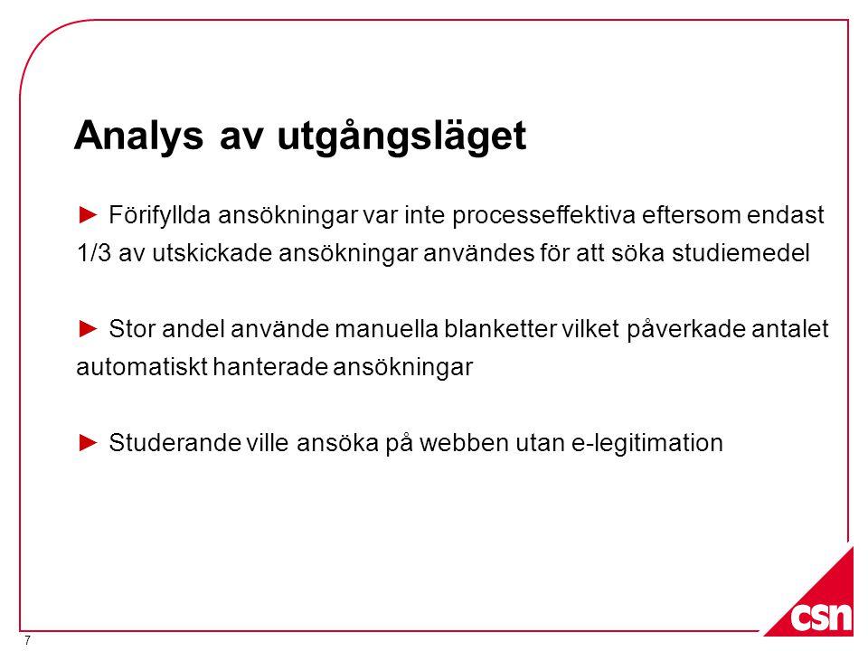 7 ► Förifyllda ansökningar var inte processeffektiva eftersom endast 1/3 av utskickade ansökningar användes för att söka studiemedel ► Stor andel anvä