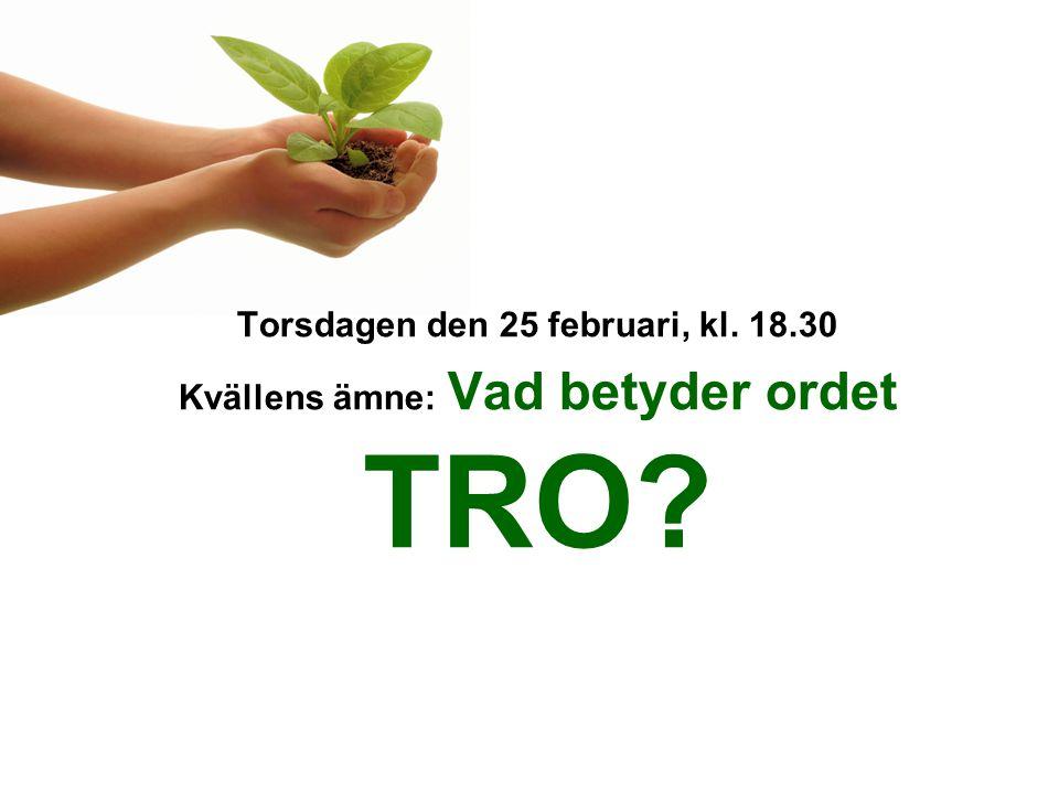 Torsdagen den 25 februari, kl. 18.30 Kvällens ämne: Vad betyder ordet TRO?