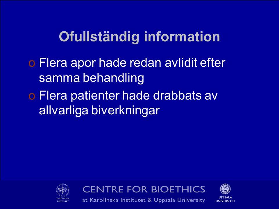 Ofullständig information oFlera apor hade redan avlidit efter samma behandling oFlera patienter hade drabbats av allvarliga biverkningar