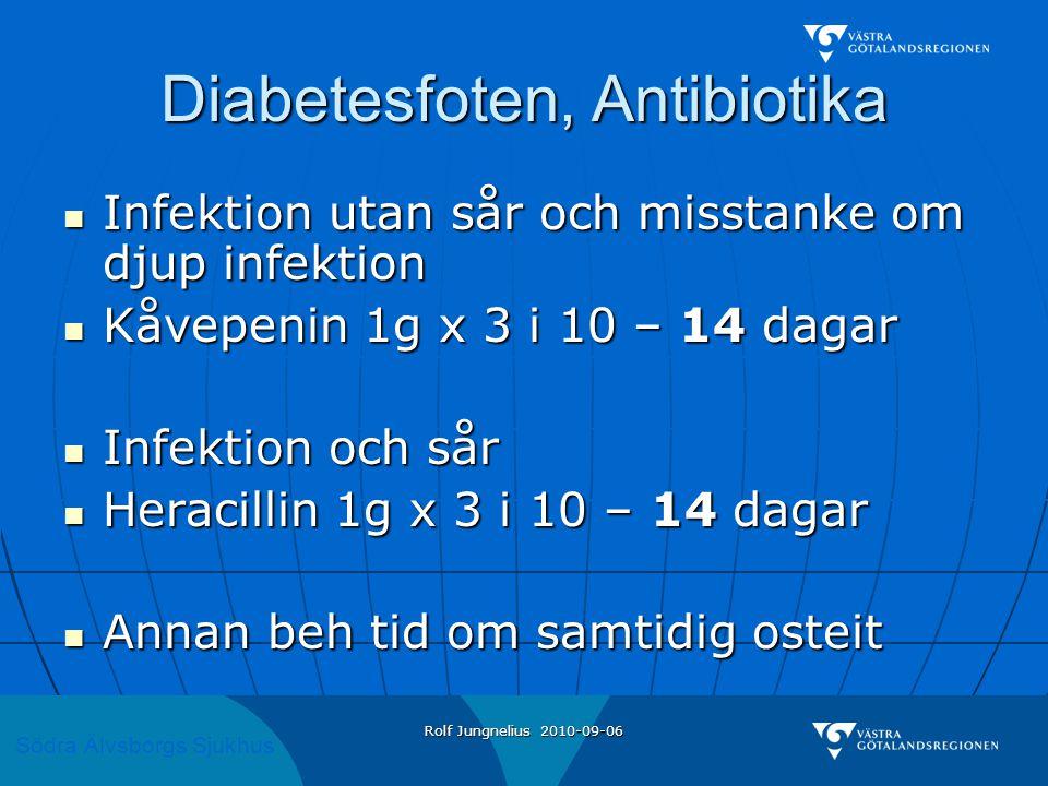 Södra Älvsborgs Sjukhus Rolf Jungnelius 2010-09-06 Diabetesfoten, Antibiotika  Infektion utan sår och misstanke om djup infektion  Kåvepenin 1g x 3