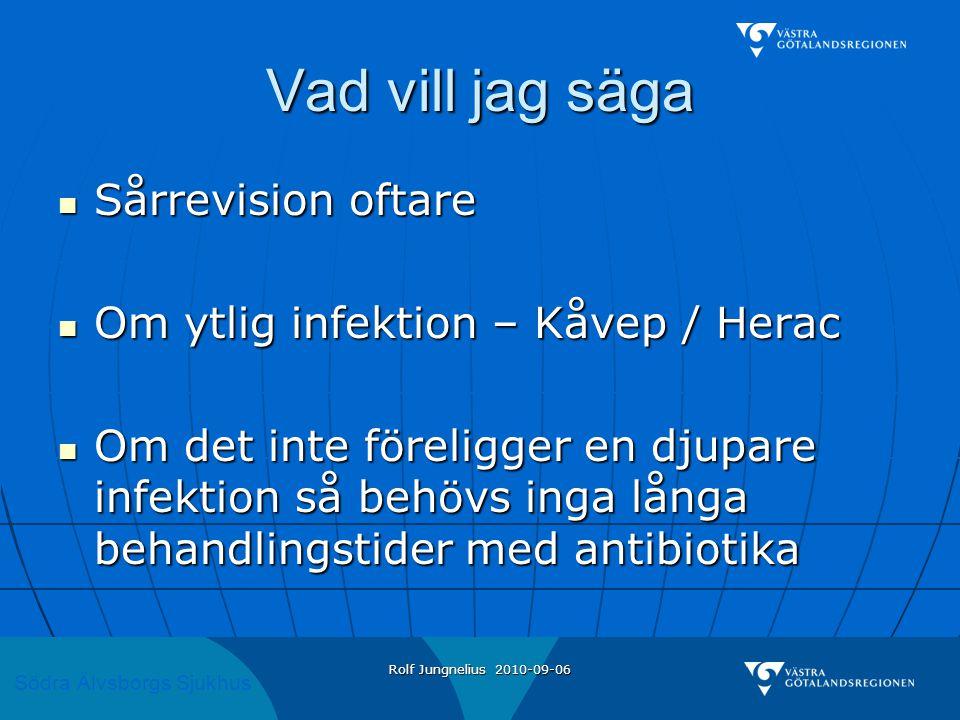 Södra Älvsborgs Sjukhus Rolf Jungnelius 2010-09-06 Vad vill jag säga  Sårrevision oftare  Om ytlig infektion – Kåvep / Herac  Om det inte föreligger en djupare infektion så behövs inga långa behandlingstider med antibiotika