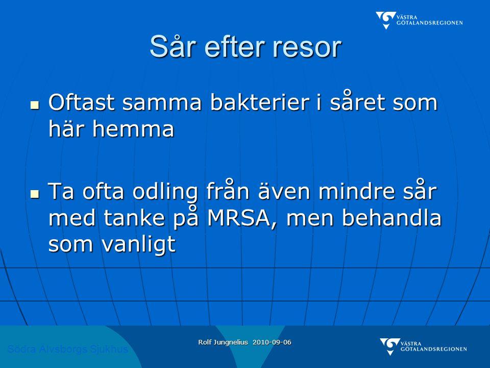 Södra Älvsborgs Sjukhus Rolf Jungnelius 2010-09-06 Sår efter resor  Oftast samma bakterier i såret som här hemma  Ta ofta odling från även mindre så