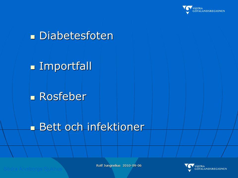 Södra Älvsborgs Sjukhus Rolf Jungnelius 2010-09-06 Man född-30 diabetiker med njursvikt  Amputation stortå nov 2002 med nekros i efterförloppet.