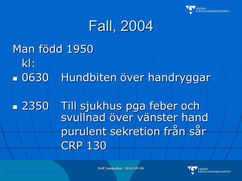 Södra Älvsborgs Sjukhus Rolf Jungnelius 2010-09-06 Fall, 2004 Man född 1950 kl:  0630Hundbiten över handryggar  2350Till sjukhus pga feber och svull